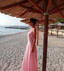 Blago roza duga haljina/ nikad nošena /hrv. dizajn