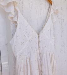ASOS bijela crochet haljina s volanima