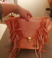 luxe bags roza torbica sa resama