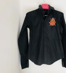Ralph Lauren strukirana crna košulja sa  grbom