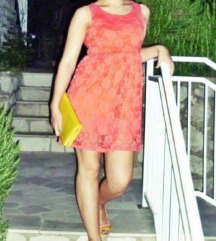 Narancasta cipkasta haljina M