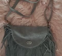 Brušena koža- siva torba sa resicama