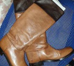 Smeđe kožne čizme