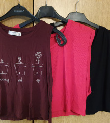 Pull&bear +tezenis 3 kropane majice