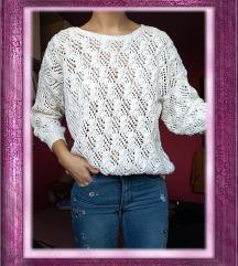 Bijeli pulover/džemper - ručni rad, vel. S (36)