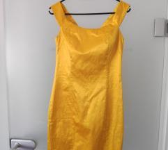 Žuta satenska haljina