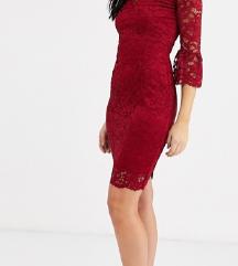 Nova čipkasta bordo haljina