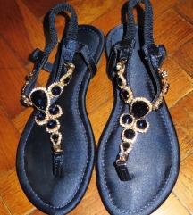 Tamnoplave Shoe box sandale