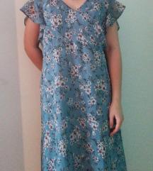 Plava haljina s cvjetićima