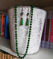 Ogrlica i naušnice , zeleni ahat , biseri i srebro