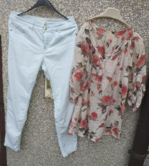 %%%H&M mint skinny hlace + cvijetna tunika