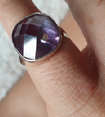 prsten pravo srebro 925 16mm ametist