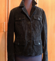 Novi sako / jakna od crne velur kože rez.