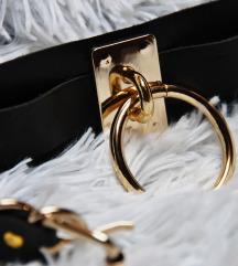 Široki kožni choker s zlatnim O-ringom