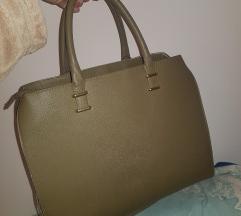 H&M maslinasto zelena poslovna torba