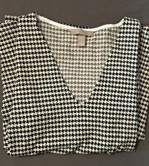 Haljina pepita uzorka V izreza