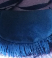 Plava torba - brušena koža