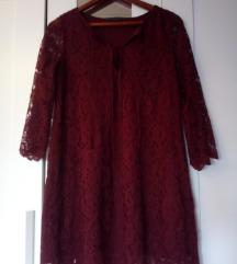 Zara haljina čipka bordo