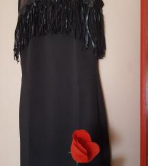 Crna haljina s kožnim resicama