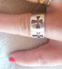 prsten  srebro 925 18mm sa 5 križa