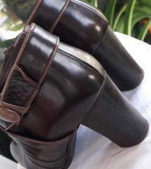 Smeđe cipele-gležnjerice PRAVA KOŽA