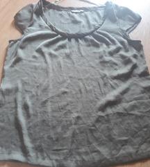H&M  tamnozelena svilena bluza kratkih rukava /L
