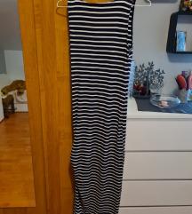 Haljina na pruge, duga, s prorezom