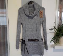 NOVO siva tunika sa dolčevitom