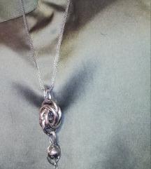 SET duga ogrlica srebro +MANGO majca,pt uključena!