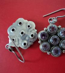 Vintage srebrene naušnice 925 s ametistima
