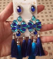 viseče naušnice kraljevsko plave boje