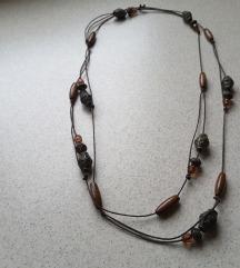 Smeđa, duga ogrlica