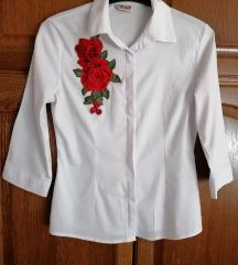 Bijela strukirana kosulja s ruzom, XL vel.