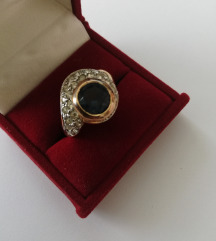 Prsten imitacija safira