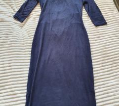 Tamnoplava midi haljina izrez na ledjima