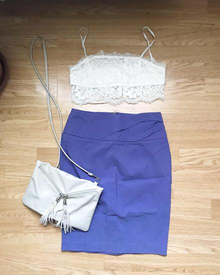 LOT Ljubičasta retro suknja i torbica s resama 💜