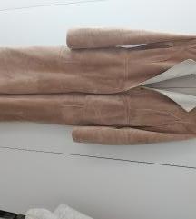 %Bež/ bijeli teddy kaput S