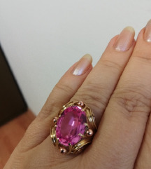 Antikni prsten od zlata i rose safira