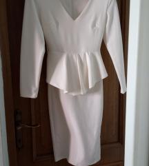 Bijela peplum haljina S/M