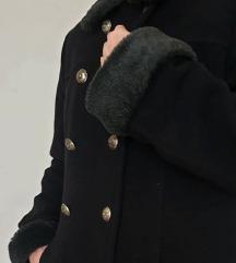 Crni dugi kaput od kašmira i vune