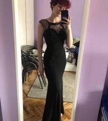 Svečana duga uska crna haljina