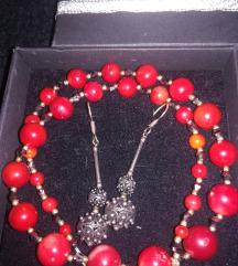 Koraljna ogrlica i srebrne naušnice unikat 10%