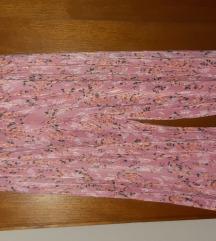 Ljetne culottes hlače roze s cvjetovima
