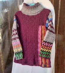 Ljubičasto-sivi vuneni pulover L