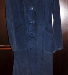 Tamnoplavi dugi kaput - brušena koža