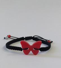 Pleksiglas leptir narukvica pletena