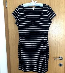 H&M prugasta pamučna haljina