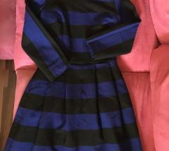 Zara prugasta plava skater haljina xs 34