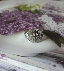 Prsten križ srebro gothic