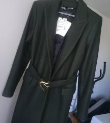 Zara zeleni kaput s kopčom XL